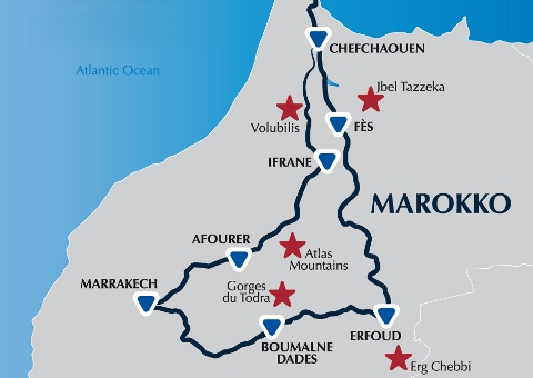 Spain to morocco Itinerary